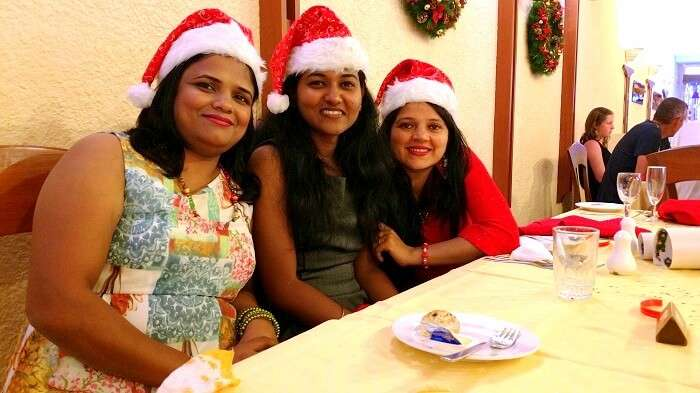 Sandeep and his family enjoying the christmas party in Mauritius