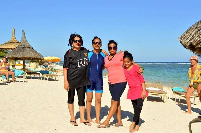 Sandeeps friends and family at the Silver Beach Resort