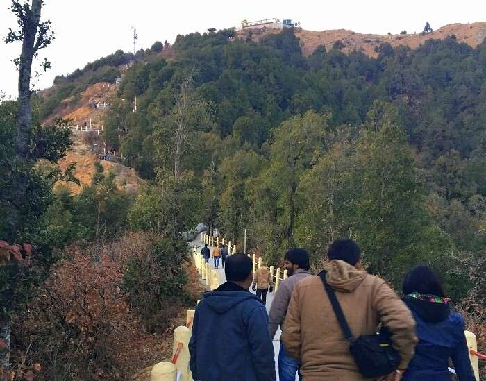 Campers during the temple trek in Kanatal