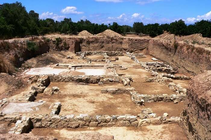 An excavated site of Helike in Greece