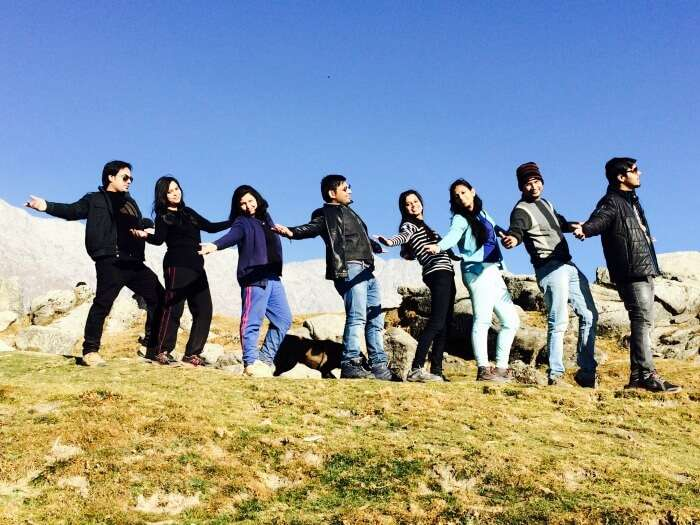 friends posing in triund