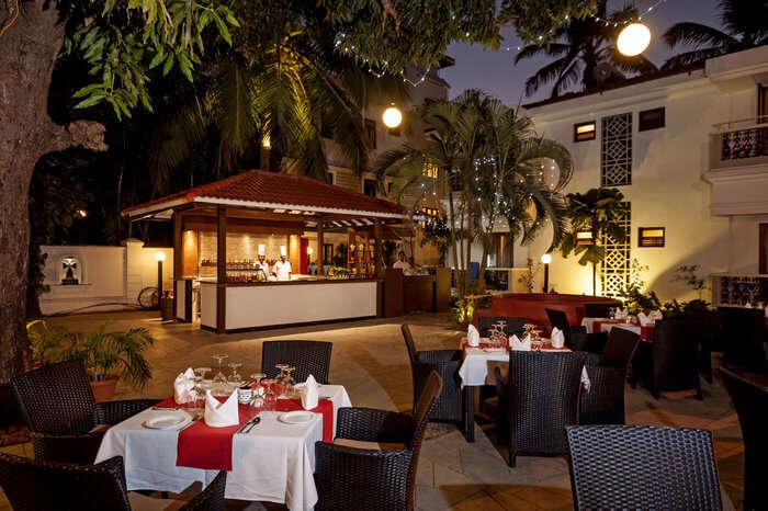 Evening dinner in an open garden restaurant