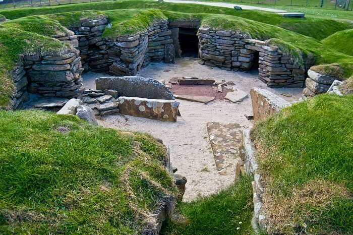 Stone age village Skara Brae on Orkney in Scotland