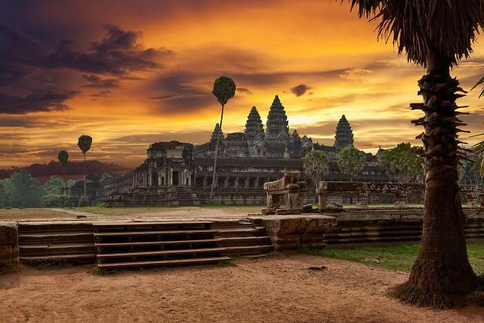 A sunset shot of the Angkor Wat Temple in Cambodia