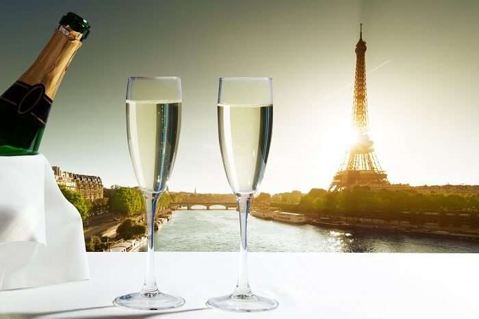 Champagne Glasses and Eiffel tower in Paris