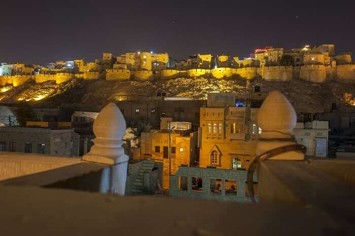 Jaisalmer Fort stands on a ridge of yellowish sandstone