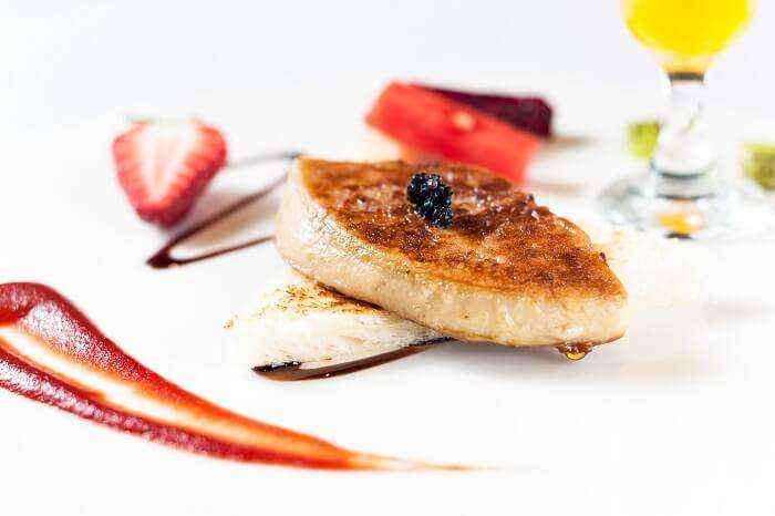 A plate of Foie gras that is one of the best dishes of the French cuisine