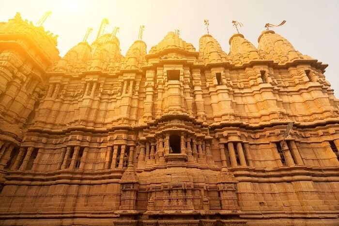 Ancient sandstone made Hindu Temple inside Golden fort of Jaisalmer