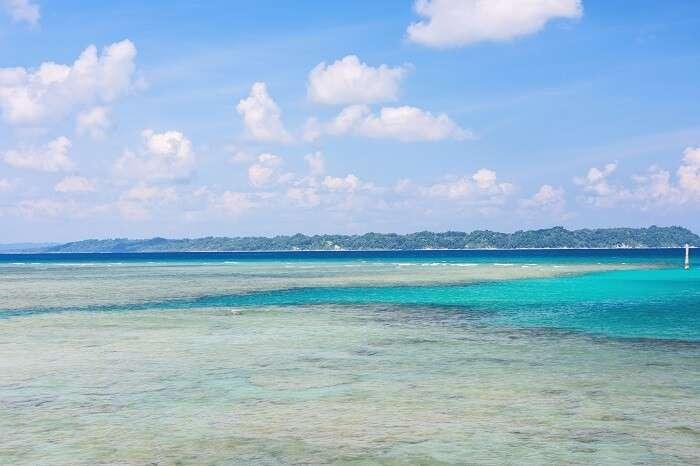 Deep blue waters as seen from Bharatpur beach on Neil Island