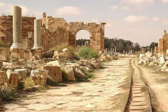 Ruins of the Roman city of Leptis Magna in Libya