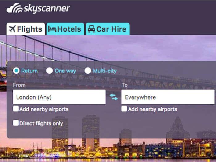 Sky scanner app for travel deals