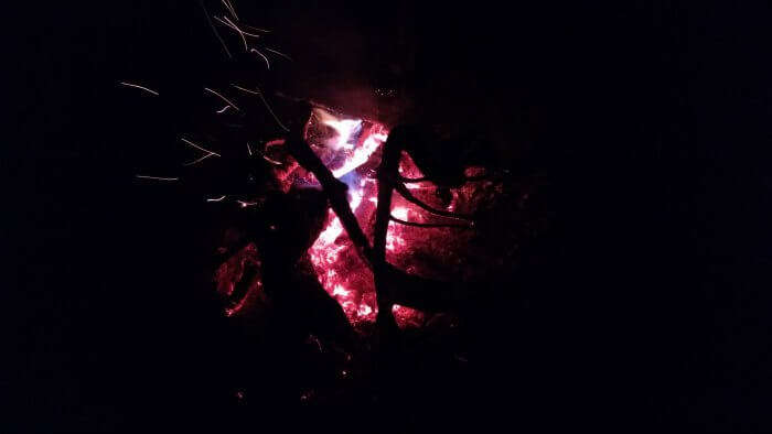 bonfire at campsite
