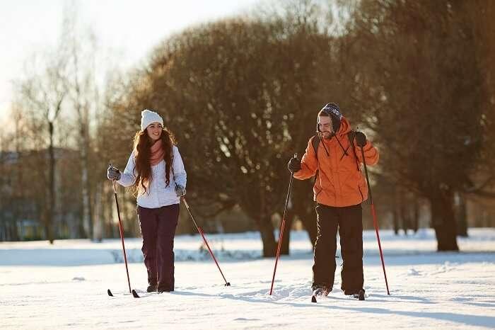 Skiing on honeymoon in Alaska