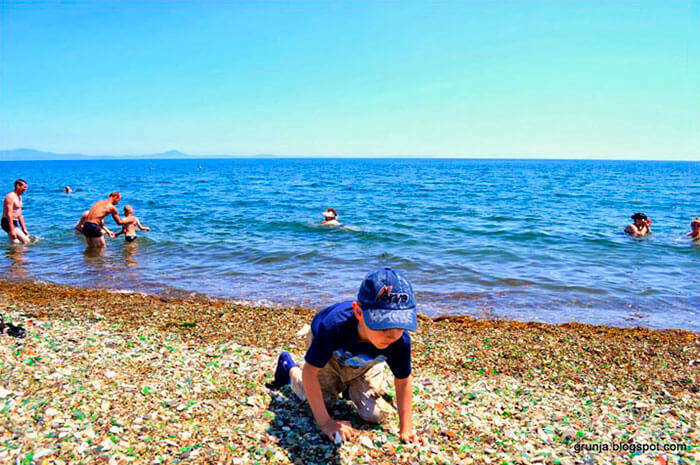 Collecting Colorful Pebbles on Glass Beach Russia