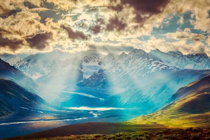 Sun rays making way through the clouds in Spiti Valley
