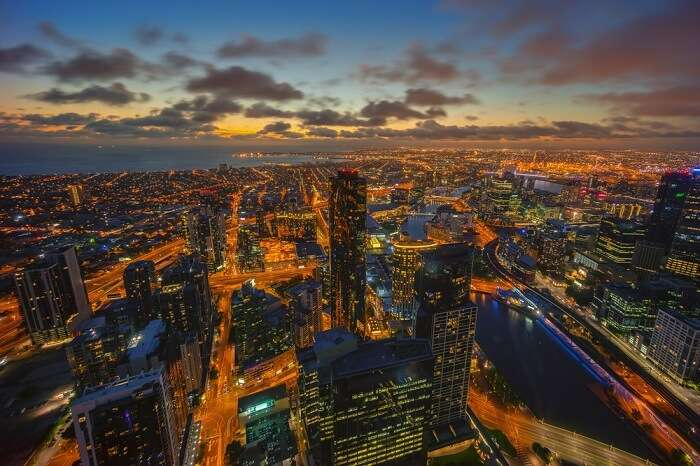 Night view of Melbourne Skyline