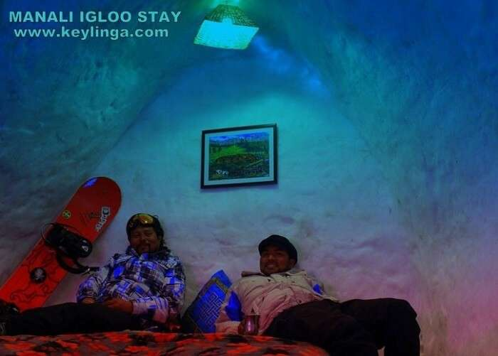 Adventure enthusisats resting inside an igloo in Manali