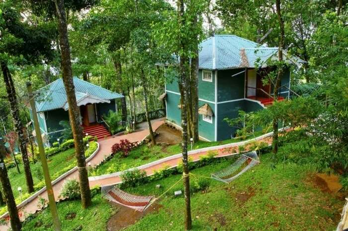 Blue Bells Valley Resort in Munnar amid lush greenery