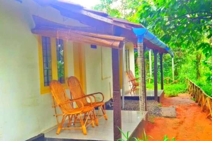 Seating space outside Rock Inn Munnar