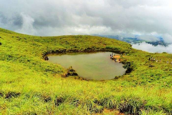 The famous heart-shaped Chembra Lake in Wayanad