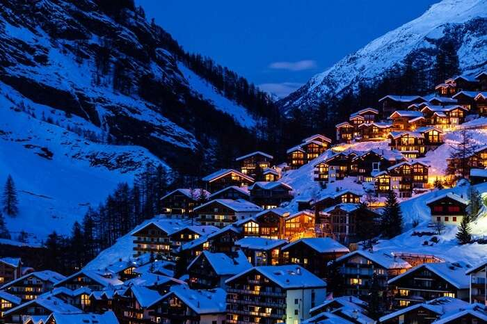Snowfall in Zermatt Switzerland