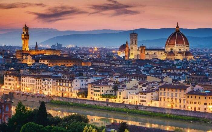 View of Florence during sunset
