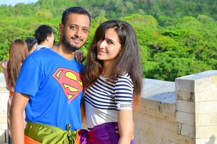 Sanchit and his wife visit Uluwatu temple in Bali
