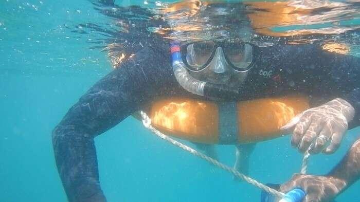 Mayank doing snorkeling in andaman