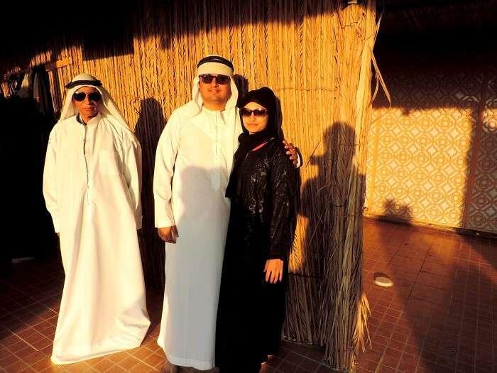 Family in Dubai desert