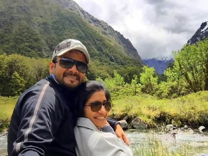Harsh and his wife at the Milford sound tour