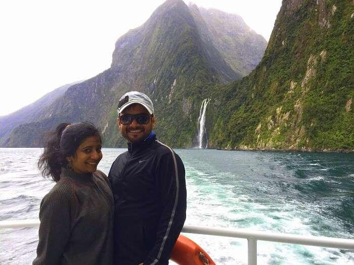 Harsh and his wife enjoy the milford sound cruise