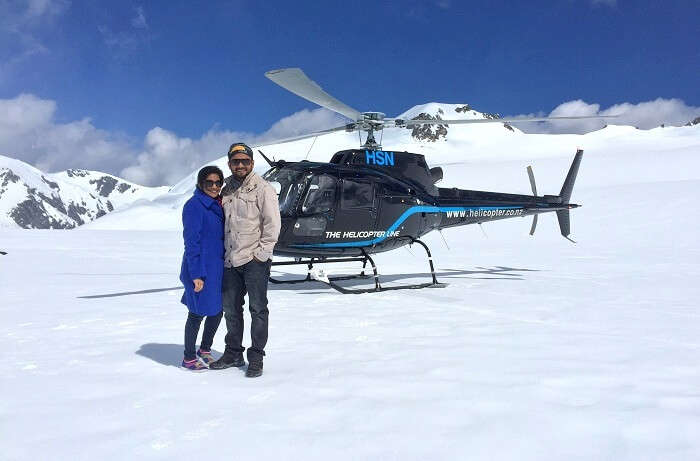 Helicopter ride in Frank josef