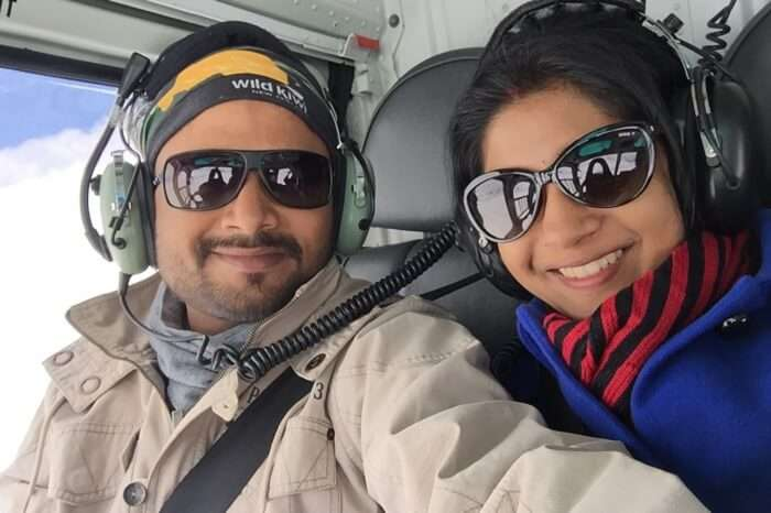 Harsh and his wife enjoy the helicopter ride to Frank Josef glacier