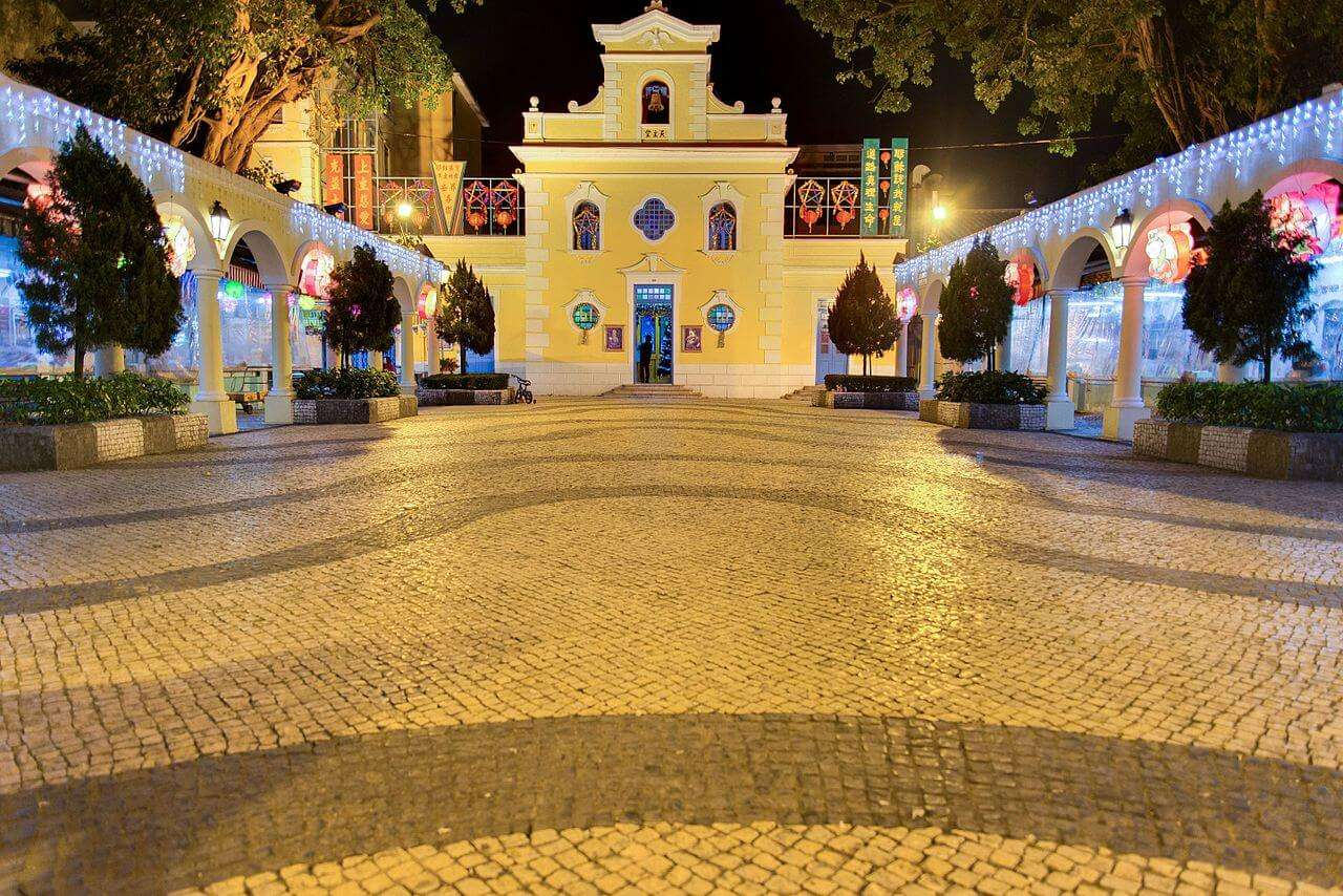 Chapel of St Francis Xavier church decorated with lights at night