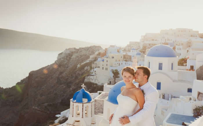 A couple in Oia