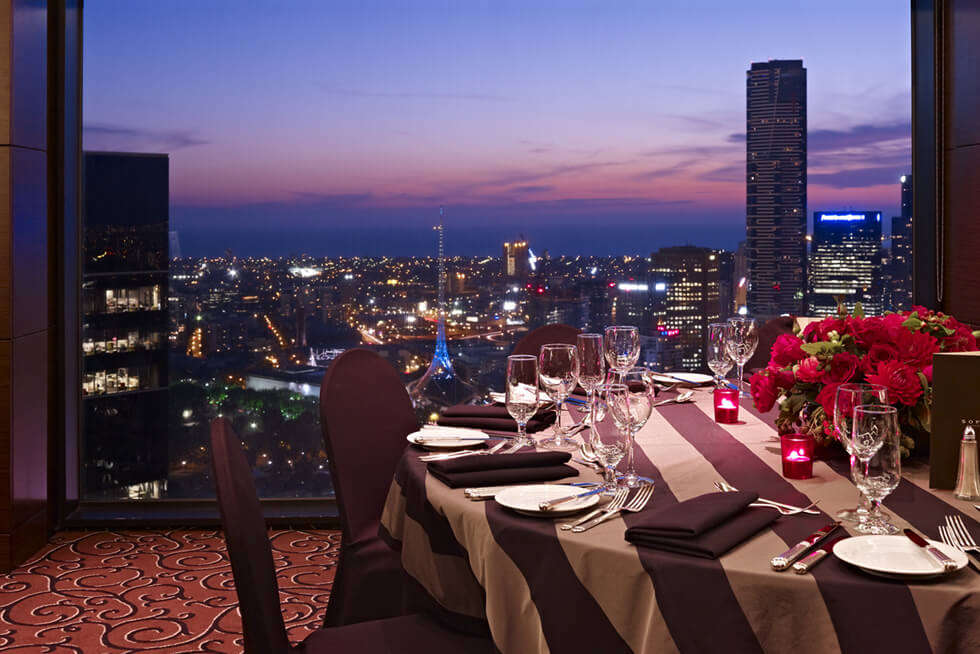 view of Melbourne city from premium suite at Sofitel