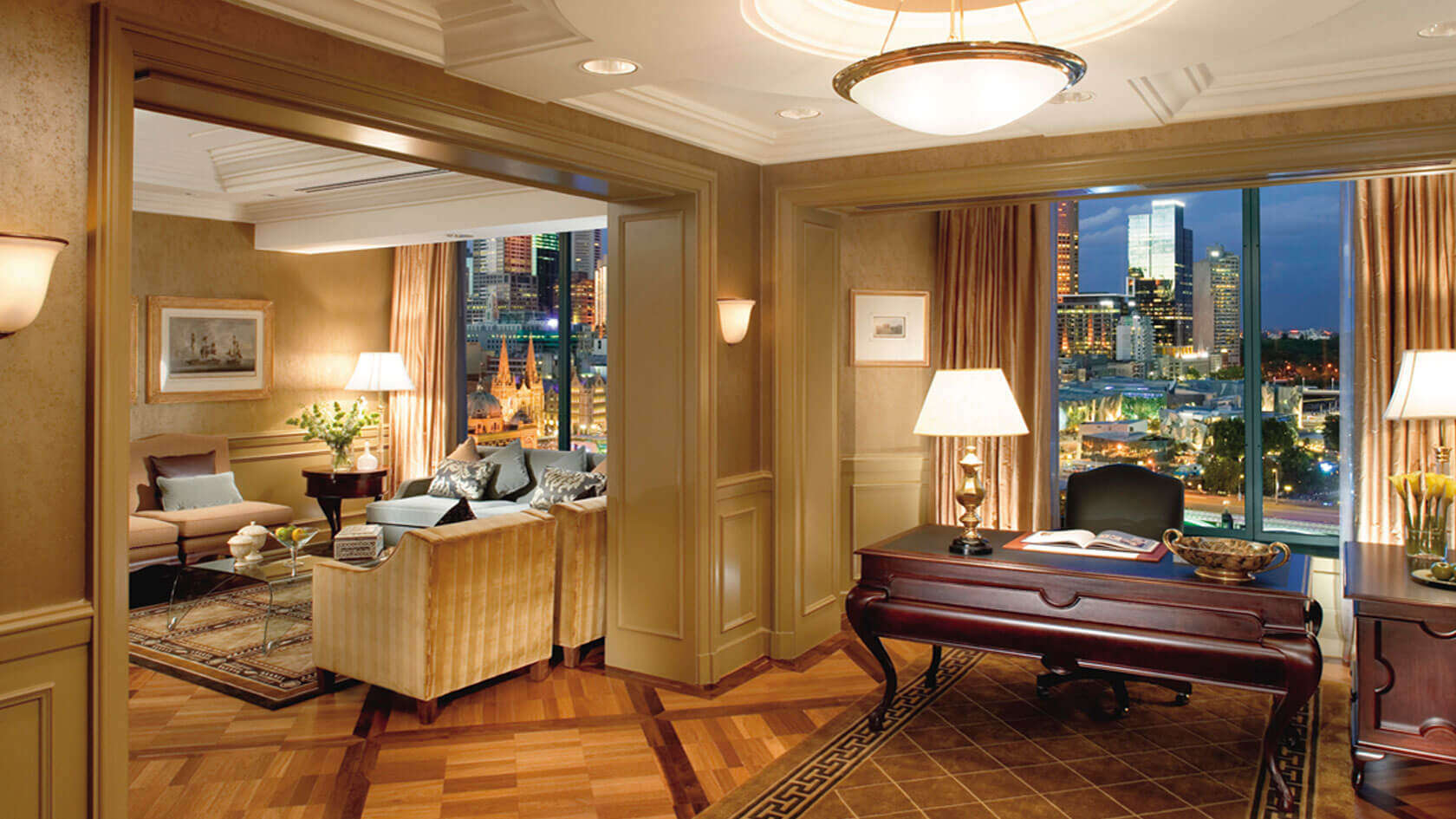The Langham premium suite with the Melbourne city view