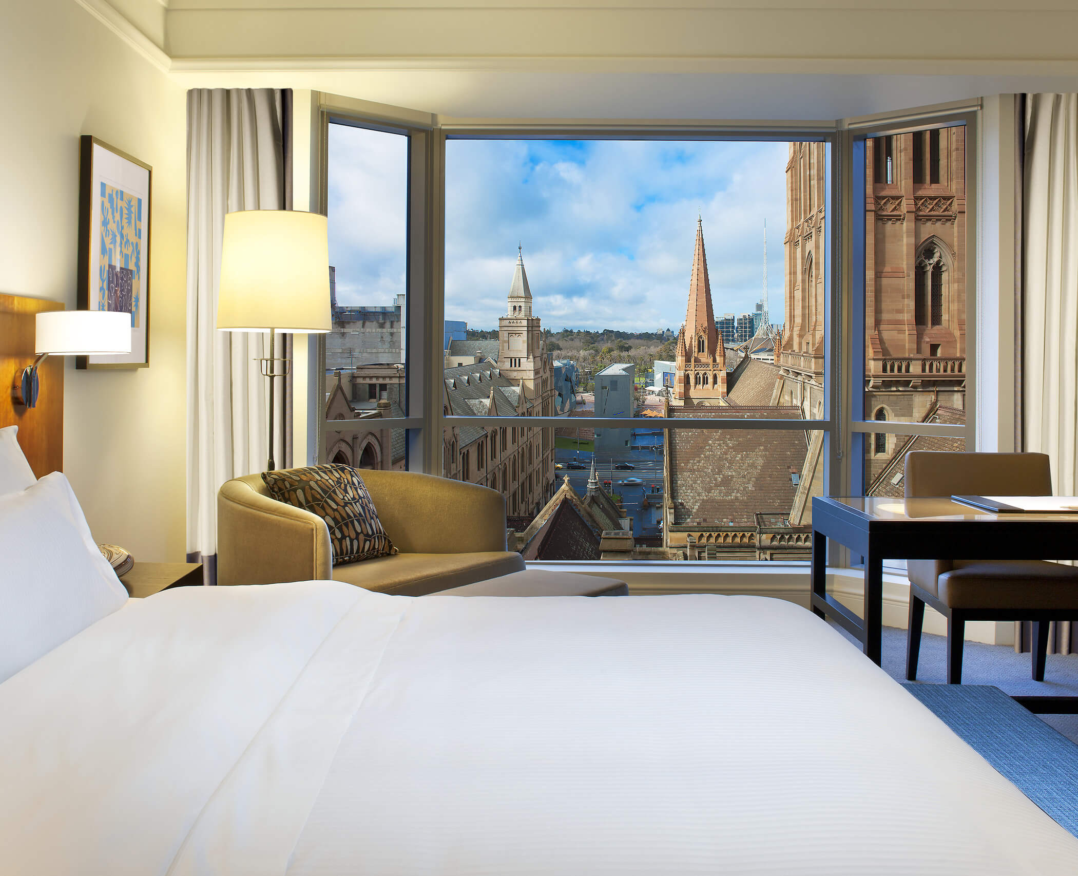 The Westin premium suite with amazing views of the Melbourne city