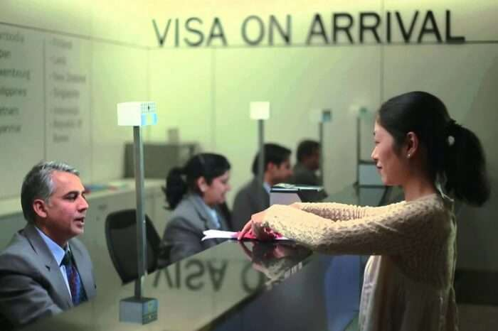 Traveler at immigration desk in Mauritius