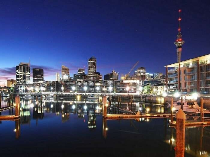A night shot of the bustling Viaduct Harbour in Auckland