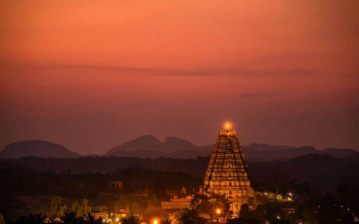 Sunset around Virupaksha Temple in Hampi