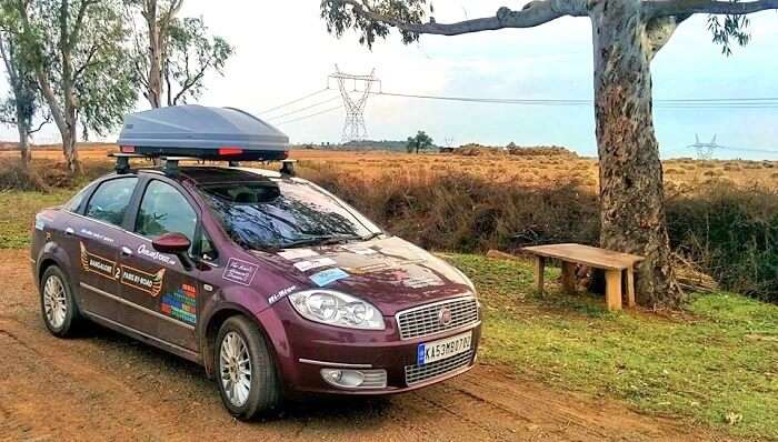 A decked up car for a road trip from Bangalore to Paris