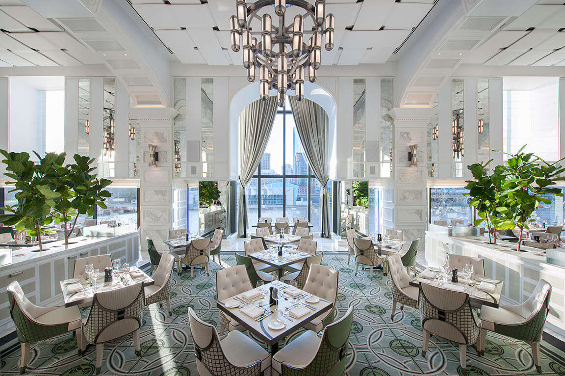 white and green decor of crown towers restaurant Melbourne