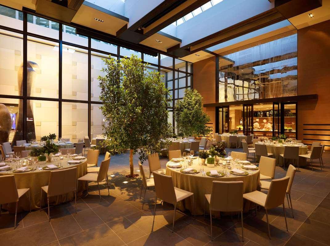 dining tables and indoor plant at grand hayatt, grand hayatt restaurant