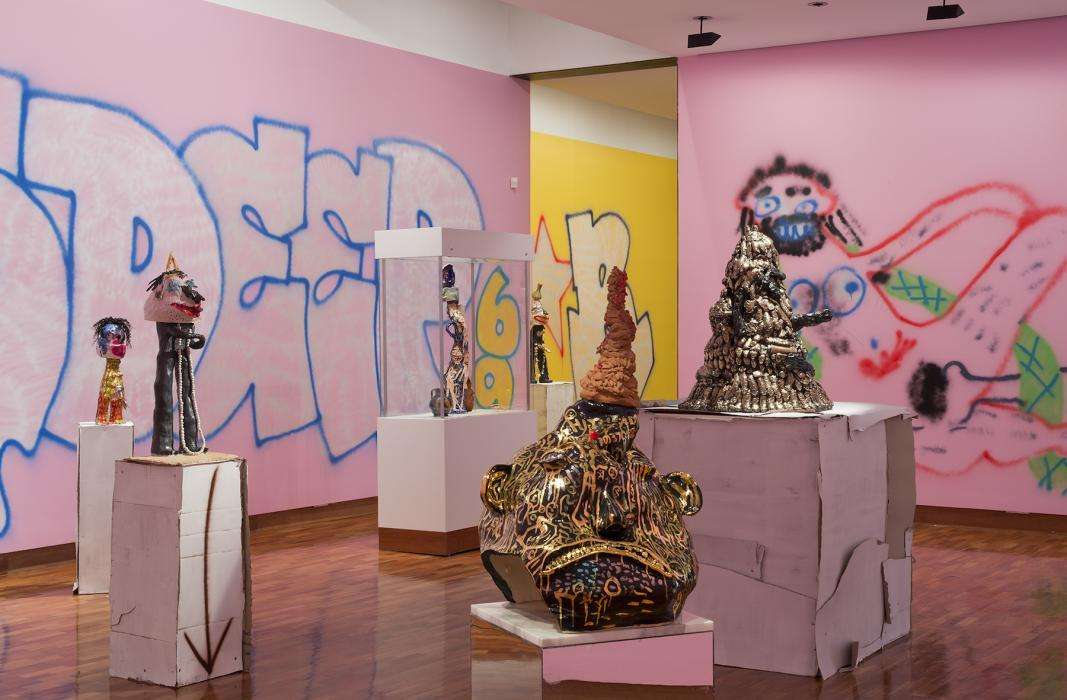 handmade structures and graffiti at Ian Potter Museum of Art at Melbourne