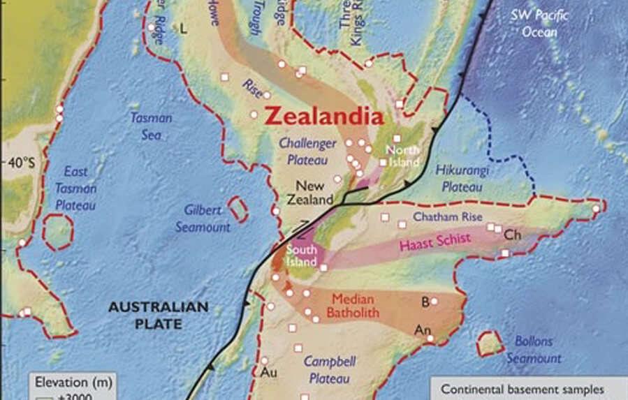 Map of Zealandia continent