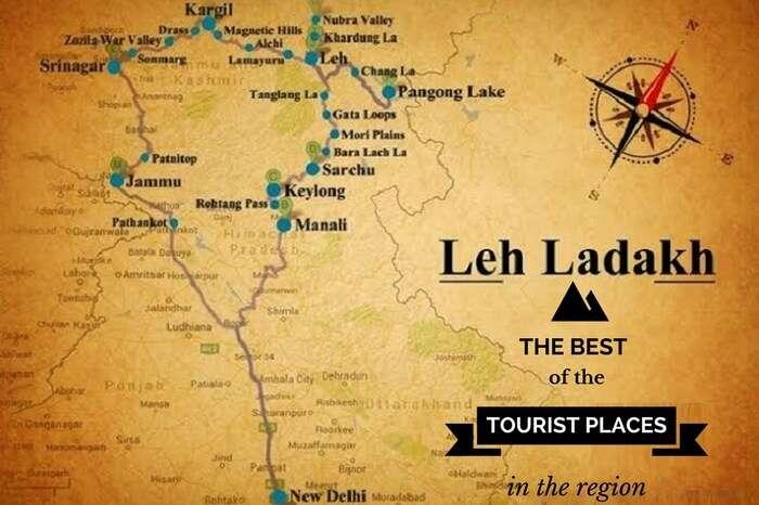A tourism map of Leh Ladakh