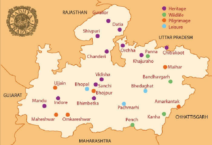 Mp Tourism Map 4 Best Tourist Circuits In Madhya Pradesh