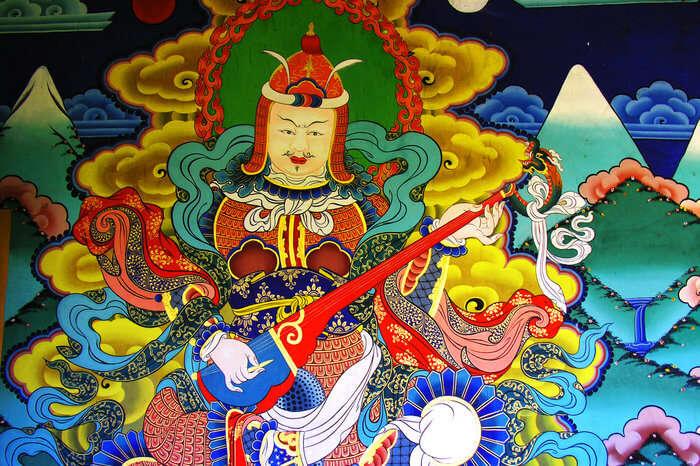 Bhutanese mural on monastery wall