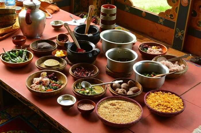 Bhutanese raw food on a table